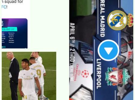 Uefa Champions League; Real Madrid VS Liverpool, see Coach Zidane Real Madrid's complete squad list.