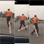 Video: Check Out What A Traffic Warden  Was Seen Doing On Duty, Sparking Reactions