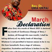 March Declaration: Rev. Dr Uma Ukpai Drops Prophetic Declaration For The Month Of March