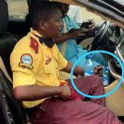 See What A Frustrated Driver Did To A LASMA Official Who Dragged His Car Steering With Him