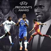 Didier Drogba jubile après son grand prix du président de l'UEFA :
