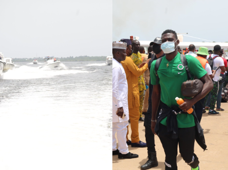 Super Eagles Arrives Benin Republic in Boats, As They Prepare To Face Benin In AFCON Qualifier