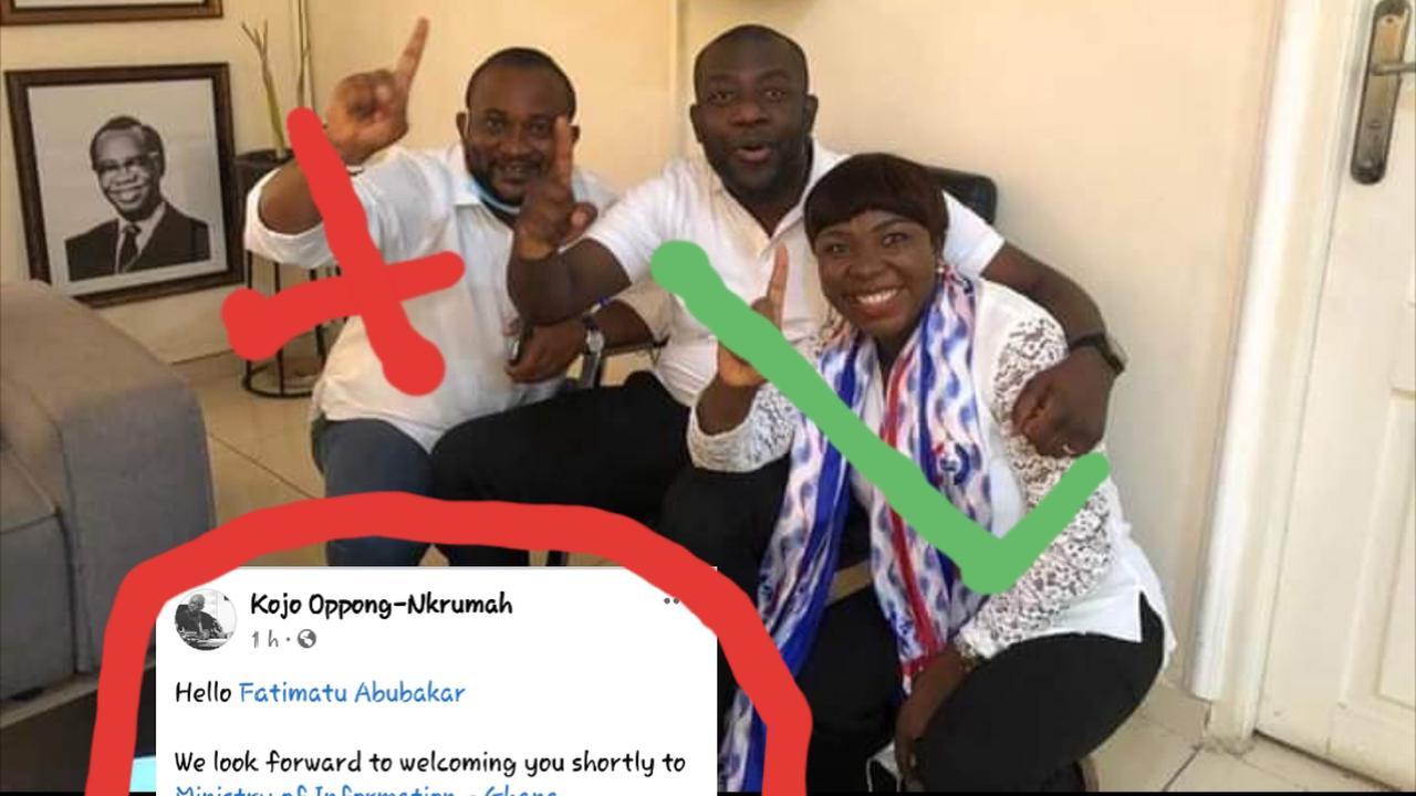 Heart-warming message: Kojo Opong Nkrumah beautifully welcomes his deputy.