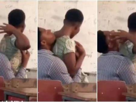 Video of student and teacher doing it in class has gone viral. Watch full video.