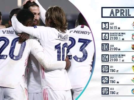 Real Madrid April fixtures revealed.
