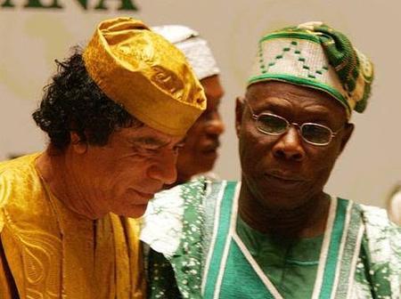 Photos Of Muammar Gaddafi With Abacha And Obasanjo