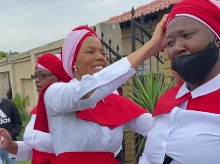 Connie Ferguson showcases her church's outfit when she filmed Rockville