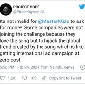 Master KG decided to charge for #JerusalemaChallenge and Prince Kaybee support him see his thoughts.