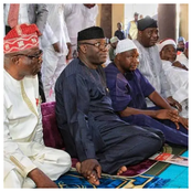 Akpabio, Seyi Makinde, Fayemi, Dapo Abiodun, Fayose, Sowore And Others Praying Inside The Mosque