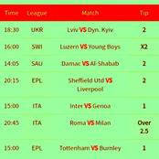 Win Massively Tonight With These Reliably Fixed Multibets With GG,Over 2.5 Goals And Correct Score