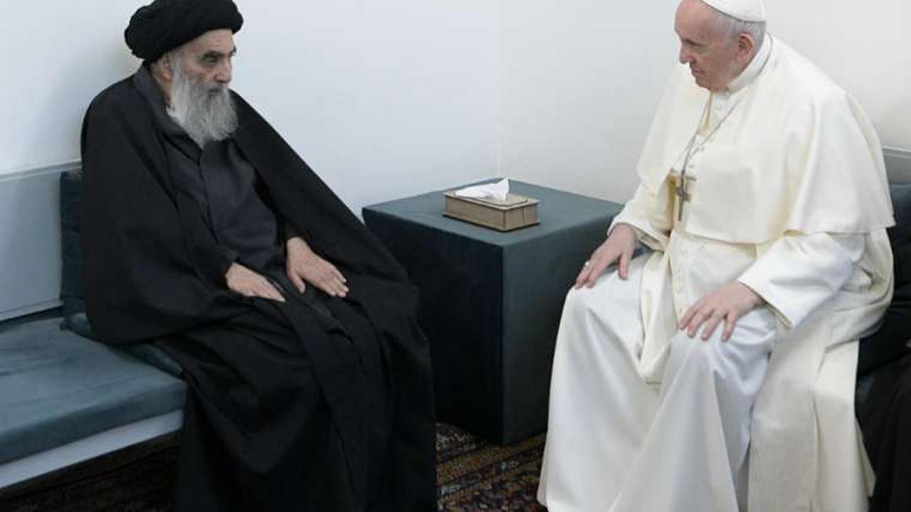 Pope Francis makes landmark visit to Iraq's top Shiite cleric Grand Ayatollah Ali al-Sistani