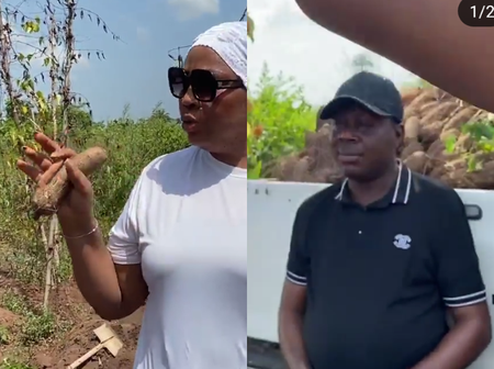 Actress Regina Daniels reacts as her mother kicks off her yam harvest (see photos).
