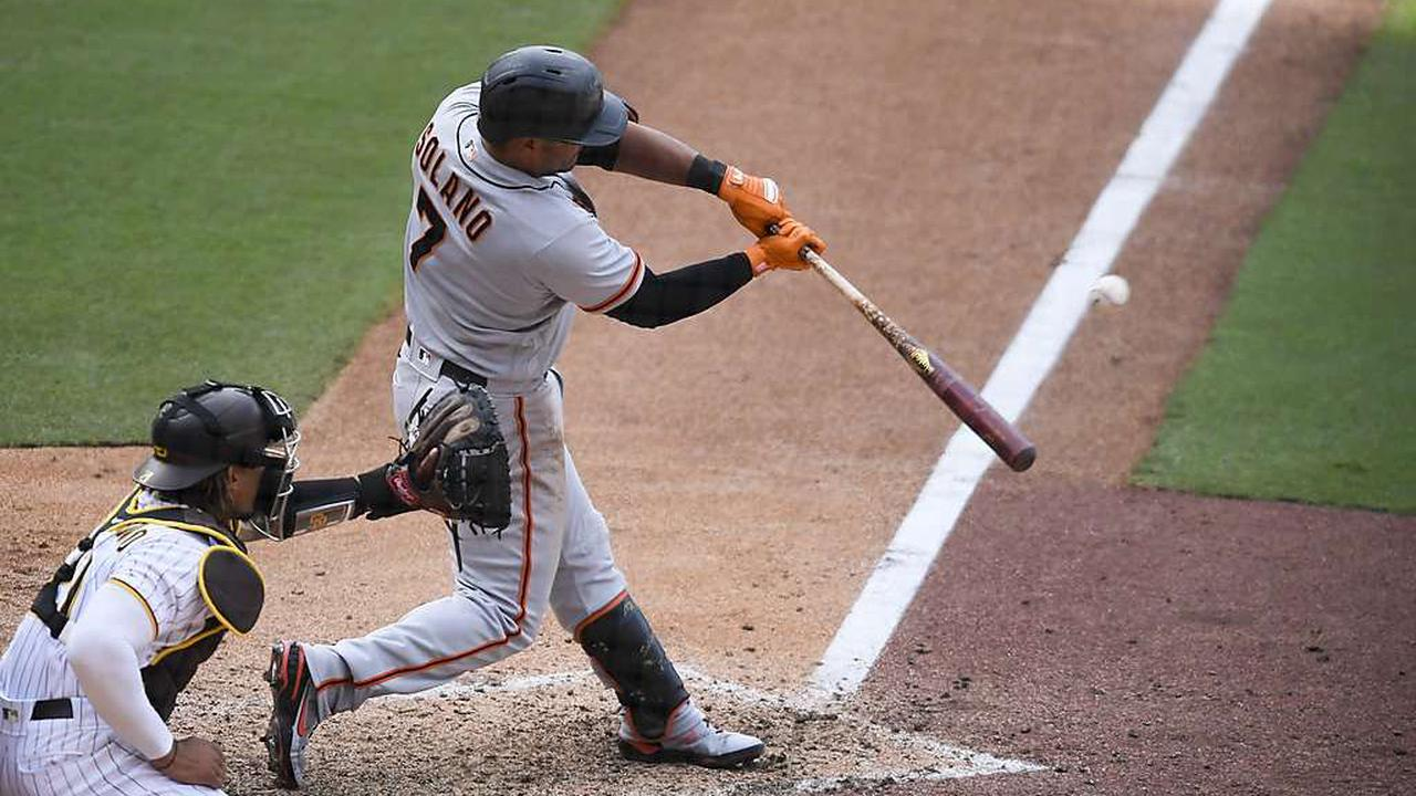 Donovan Solano presented with Silver Slugger before Giants game