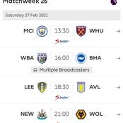 EPL: All Premier League fixtures this weekend for Match Week 26