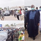 See What Youths Did For Sen Akpabio As He Arrived Venue Of The Late Air Force Marshal Burial Today