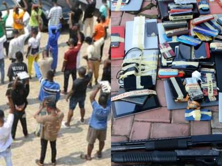 View Reactions After EFCC Arrested 57 Suspected 'Yahoo' Boys And Recovered 2 Pump Action Rifle(Photos)