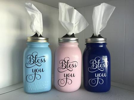 DIY Bless You Mason Jar Tissue Dispenser