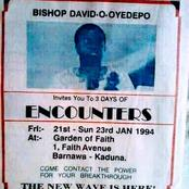 The Days Of little Begining: Bishop Oyedepo Poster spotted In 1994