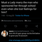 Must a Lady marry the man who sponsored her through school even when she lost feelings for him?