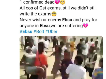 Three EBSU students reportedly die while struggling to write exams overcrowded school hall.