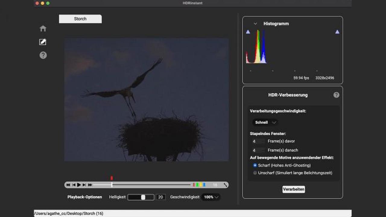 HDRlog HDRinstant 4: HDR-Bild aus Videoclip extrahieren