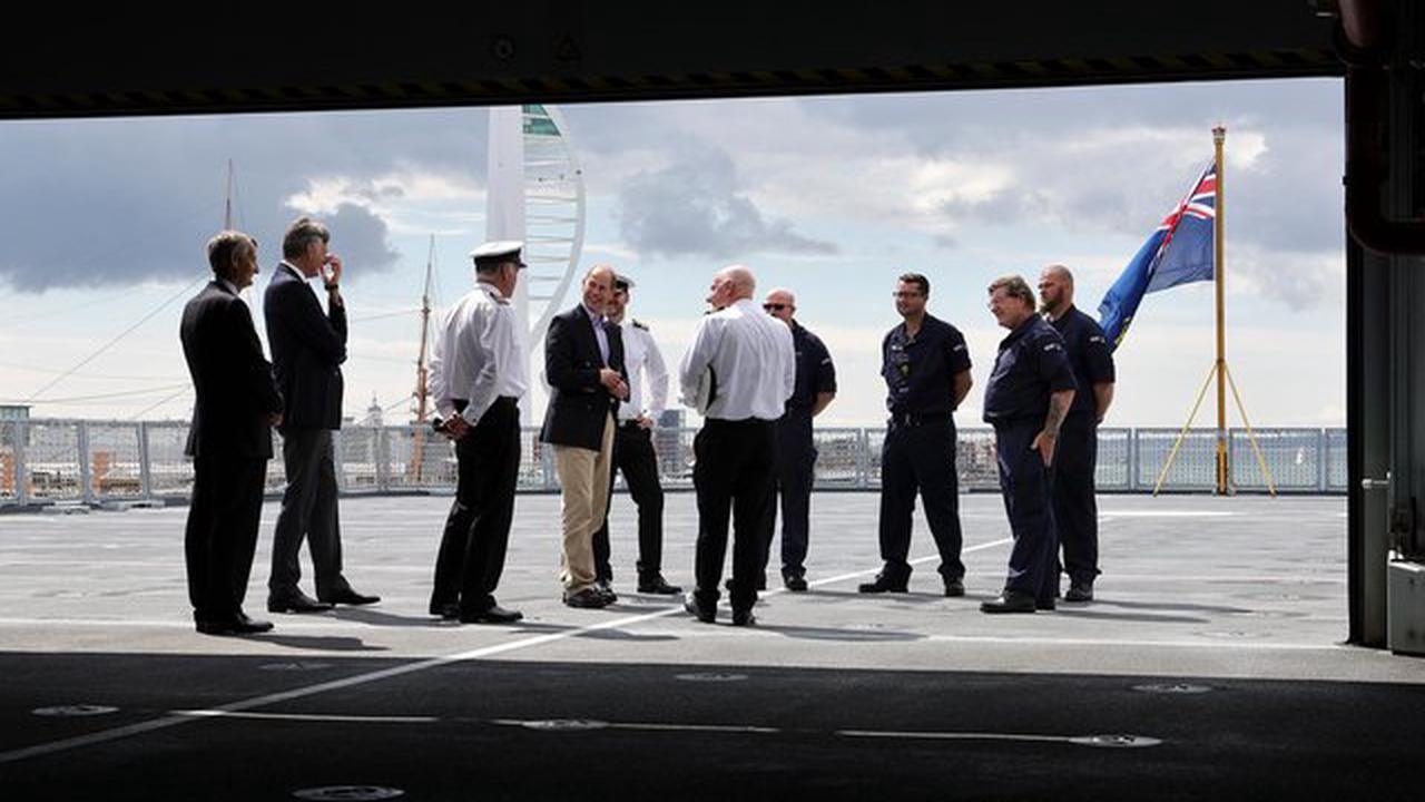 Prince Edward visits Portsmouth to tour new tanker supporting the Royal Navy's two huge aircraft carriers