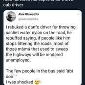 Man Shares What A Danfo Driver Said To Him After Telling Him Not To Litter The Road
