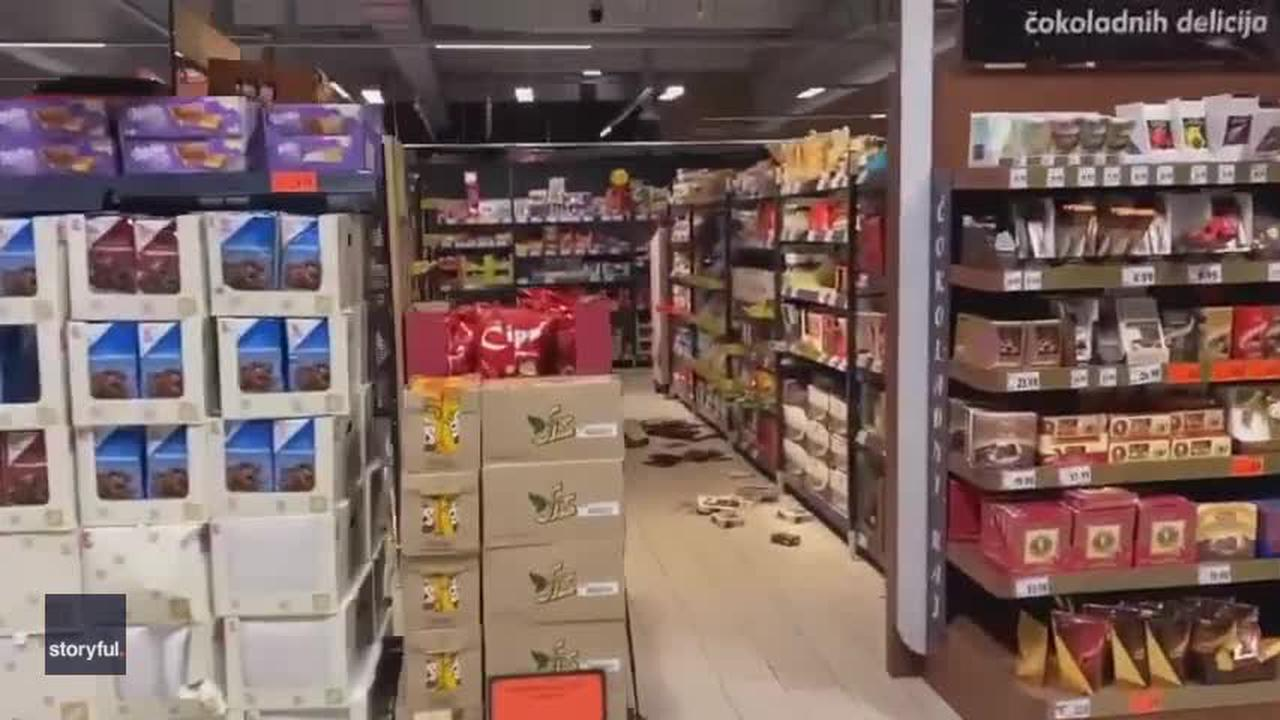 Shoppers Clutch Shelves as Earthquake Hits Zagreb Suburb