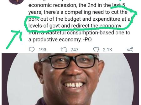 See What Peter Obi Said Nigeria Government Needs To Do To Come Out Of The Recession Immediately