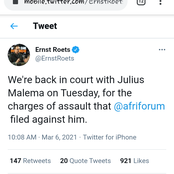 Julius Malema will be in court on Tuesday