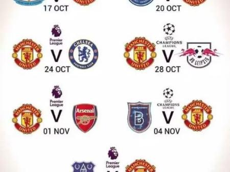 Manchester United next seven matches.