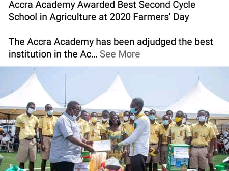 Accra Academy was Awarded Best Secondary School in Agriculture at 2020 Farmer's Day See Comments.