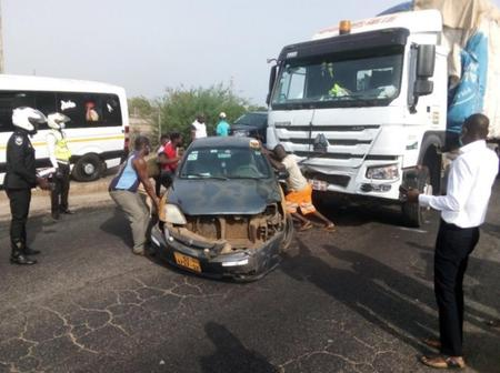 (Photos) Four vehicles involved in an accident at Tema Motorway now