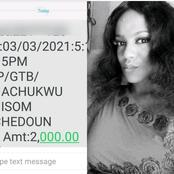 After a man she met online sent her money for lunch, see what this lady did to appreciate him.