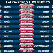 Spanish Laliga Game-Week 25 fixtures for Friday, Saturday, Sunday, and Monday