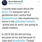 Former DA leader Mmusi Maimane has dropped a bombshell about DA, Helen Zille & John Steenhuisen