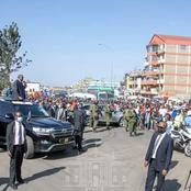 Low Turn Up As President Uhuru Kenyatta Makes An Impromptu Stop Along Thika Super Highway