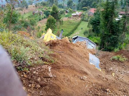 Devastating Landslide Occurs in Murang'a, Covers Farms and a Caterpillar (Photos)