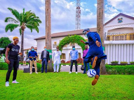 Photos: Sanwo-Olu Shows Football Skills As He Meets Nigerian Female Football Star, Oshoala in Lagos
