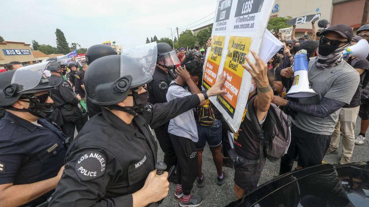 Anti-Trump protester's suit alleges LAPD projectile broke vertebrae at demonstration