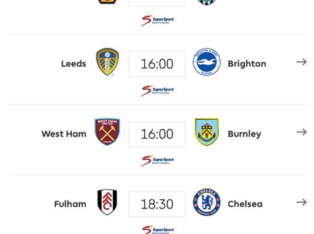 English Premier League Fixtures for Saturday January 16, 2021.