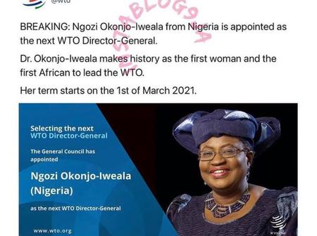 Finally, Ngozi Okonjo-Iweala officially becomes the first woman and African to emerge as WTO's DG.