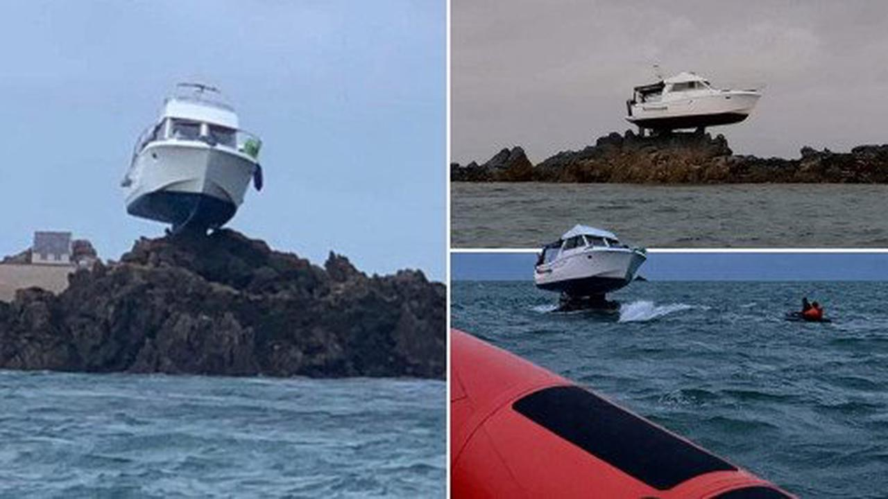 Boat left stuck in the air after getting marooned on rock in Channel Islands