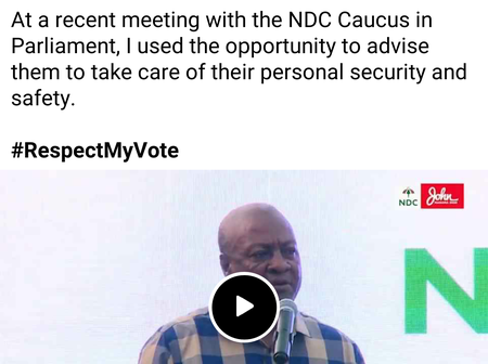 Massive Reactions After JM Sends Strong Message To NDC Caucus In Parliament.