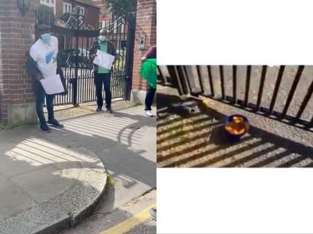 Buhari's Medical Checkup: See What Nigerians Found At The Entrance Of Abuja House In London (Photos)