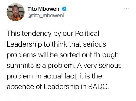 TOP NEWS : South Africa's Finance Minister Tito Mboweni tweeted this