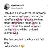 Danfo driver reveals why he is always littering the road with waste products