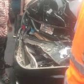 Man escapes death as a tipper racing on top speed runs into a Mercedes at Port Harcourt