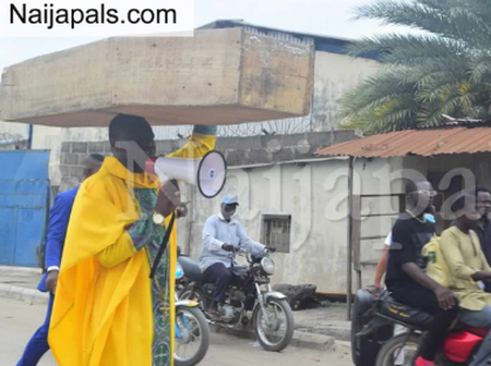 General Overseer Of A Church In Lagos Carries Coffin To Protest, Says God Told Him To Do So.