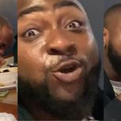Checkout How Davido Was Sweating All-Over While Battling With An African Dish(Video)